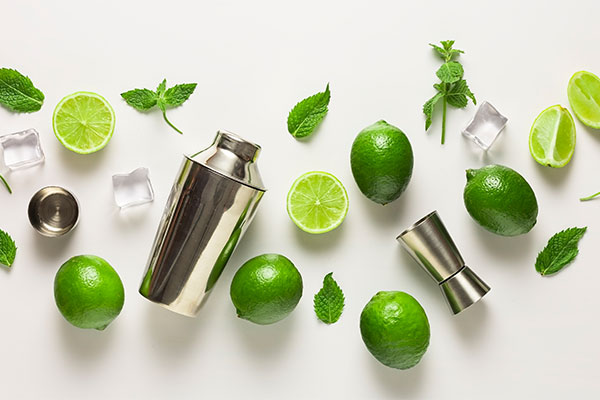 mint and lime cocktail display