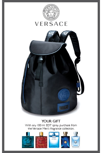 Versace collector backpack gift-with-purchase at thebay.com
