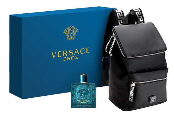Purchase a large Versace Eros fragrance at Hudson's Bay and you get this collector backpack for free
