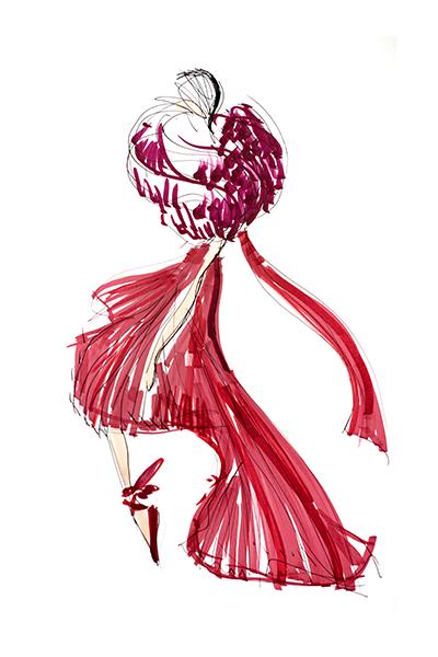 Oscar de la Renta fashion sketch